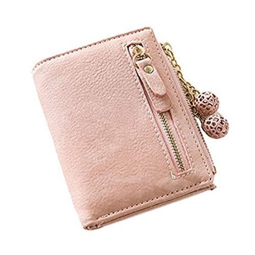 Kaned Cartera para mujer con colgante de bola hueca para tarjetas cortas con cremallera y bolsillo de piel sintética, color rosa