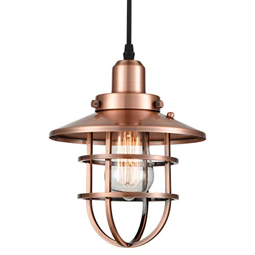 WILDSOUL Lighting 20021AC Industrial Farmhouse Pendant with Cage, LED Compatible Vintage Bar Counter Kitchen Indoor Lighting Fixture with Bulb, Dimmable Adjustable Cord, Washed Copper Finish
