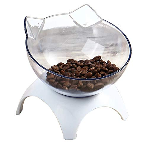 Cat Bowls 15° Tilted Platform Feeder Raised Feeding Bowl with 4 Stands for Pet Food Water