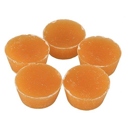 Paquete de 5 bloques de cera de abeja natural CNBTR para manualidades, ecológica, color amarillo, forma redonda, 200 g