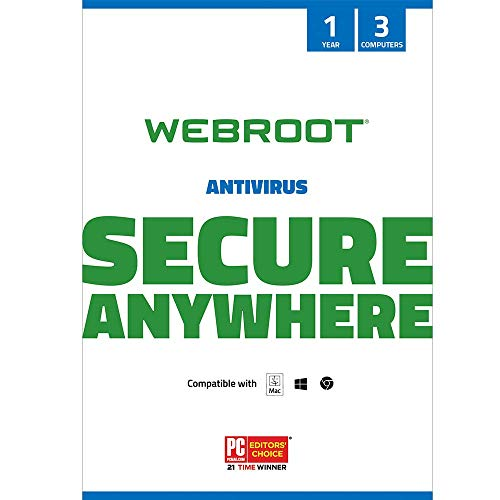 Webroot Internet Security with Antivirus Protection Software | 3 Device | 1 Year Subscription | PC/Mac CD with Keycard