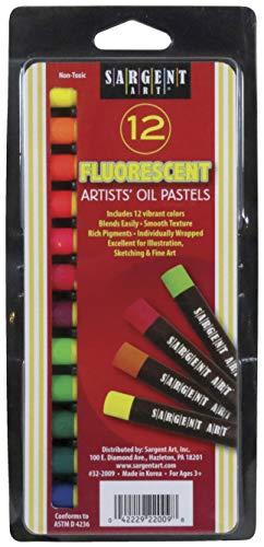 Sargent Art 322009 Gallery Oil Pastels 7/16quot x 31/4quot Size Assorted Fluorescent