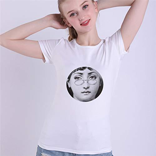 Fornase ttiqk Fornasetti gezichtsshirt voor de zomer, Modal Piero Fornasetti Vogue vrouwen grappig wit T-shirt mode streetwear top