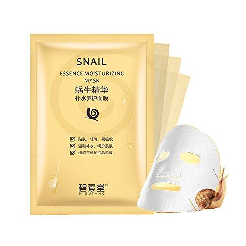 Schnecken Schneckenschleim Tuchmasken Feuchtigkeitsmaske aus 100% Zellstoff Tuch gegen Trocken und Falten 10 Stk im Set
