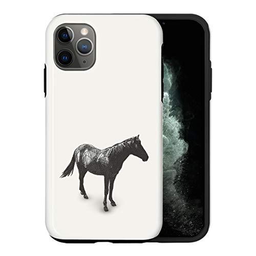 Sconosciuto iPhone 11 PRO Case, Sketch Horse Art Print ABC006_5 Case for iPhone 11 PRO Protective Phone Cover, Abstract Funny Gorgeous [Double-Layer, Hard PC + Silicone, Drop Tested]