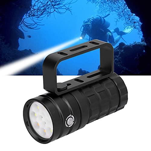 Linterna de buceo, 10000LM 12LED Linterna subacuática de alta calidad para iluminación auxiliar de fotografía subacuática(black, Pisa Leaning Tower Type)