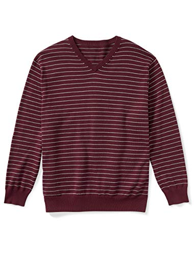 Amazon Essentials Men's V-Neck Stripe Sweater, Burgundy/Grey Heather, 5XL