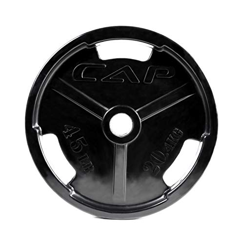 CAP Barbell Black Olympic Rubber Grip Weight Plates, Single, 45 Pound