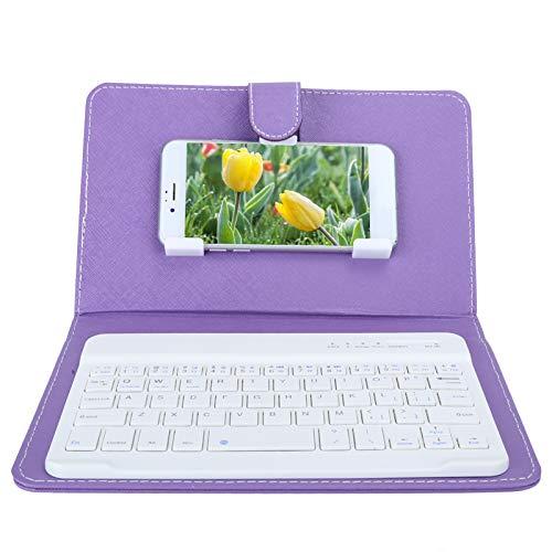 Teclado de 7 Pulgadas, Teclado Universal inalámbrico Bluetooth3.0 con Funda de Cuero PU con Soporte para teléfonos con Pantalla iOS/Android de 4.5 a 6.8 Pulgadas (púrpura)(púrpura)