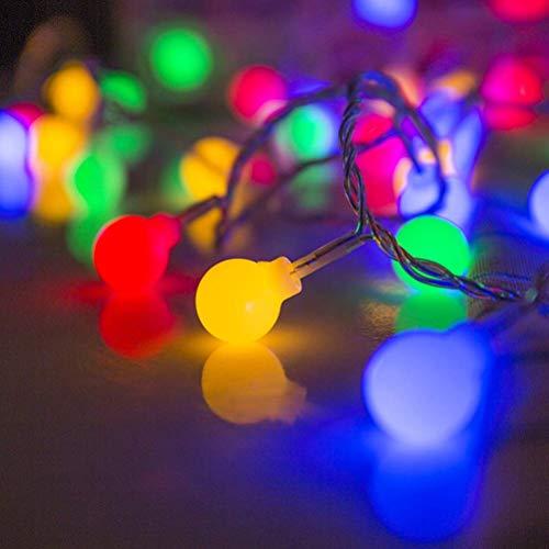 WYDM Cadena de Luces LED, 6 M 40LED Luces de Cadena de Fibra óptica de Bola de Colores, Luz de Noche Decorativa para Interiores, dormitorios, Cortinas, Patios, césped,