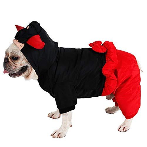 CUIZC Ropa para perros, Halloween, invierno, disfraz de vaca de cuatro patas, diablo para nias, mascotas, Navidad, Halloween, divertido disfraz