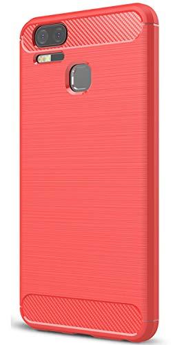 XINFENGDI Asus Zenfone 3 Zoom ZE553KL Hülle, Tasche mit Stoßdämpfung Robuste TPU Stylisch Karbon Design Handyhülle Hülle Hülle für Asus Zenfone 3 Zoom ZE553KL - Rot