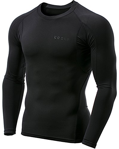 TSLA Men's Long Sleeve T-Shirt Baselayer Cool Dry Compression Top, Athletic(mud11) - Black, Medium