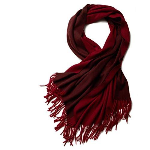 Doppelseitiger Wollschal Im Herbst Und Winter Von Frau Verdickt Und Warm Schal Koreanische Version Dual-Zweck Lange Stil, Schnaps Rot (Wolle 200 * 70)