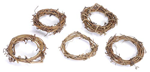 Darice GPV3 Grapevine Wreaths, 3-Inch, Pack of 12