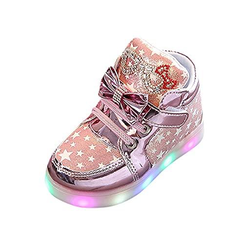 Zapatillas de deporte con luz LED, 22 unidades, antideslizantes, con cierre de velcro, Rosa., 23