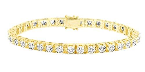 Bracciale tennis a grappolo di diamanti naturali a taglio rotondo in oro massiccio 14 ct (5,75 cttw) e Oro giallo, colore: Giallo, cod. MNo-UK-CMB32653-YG-8.5