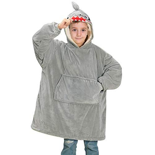 Beinou Shark Decke Hoodie Sweatshirt Kinder Kuscheldecke Hoody Kapuzenpullover Schlafanzüge Pullover Fleece Plüschpyjamas Bademantel mit großer Tasche Geschenke für Jungen