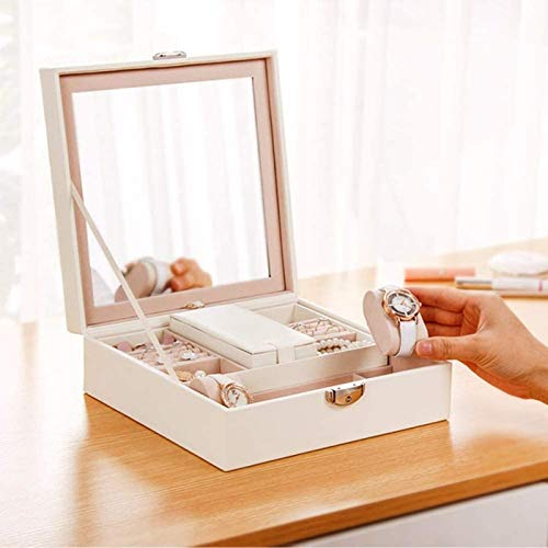 HYJMJJ Jewelry Box for Women, With Lock Large Mirrored Leather Jewelry Box Large Capacity with Small Travel Case Jewelry Organizer Gifts for Women Organizer Multipurpose Treasure Chest Trinket