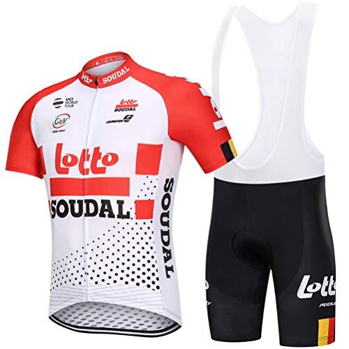 Abbigliamento Ciclismo da Uomo,Asciugatura Rapida Traspirante Maglia Manica Corta+9D Gel Cuscino Pantaloncini,Estivo Completo Ciclismo Jerseys per Squadra Professionale ( Color : H , Size : L )