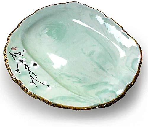 TREEECFCST Platos Vajilla Cocina Europea Desayuno Almuerzo Plate (Color: Verde, Tamaño: 25 cm) (Color : Green, Talla : 25cm*23cm)