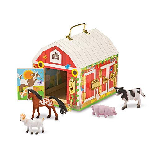 Image of the Melissa & Doug Latches Barn Toy (Developmental Toy, Helps Improve Fine Motor Skills, Painted Wood Barn, 10.5