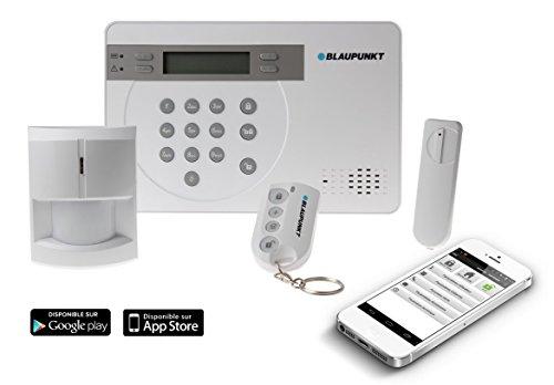 Blaupunkt SA2700 FR Alarme maison sans fil GSM (centrale + détecteur de mouvement + contact d'ouverture + télécommande) (kit évolutif)