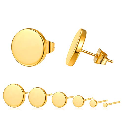 6 Pairs Gold Stud Earrings Mens Womens Flat Round Circle Earrings Pack,Yellow Gold Plated Tiny Danity Dot Small Stud Earrings Set for Teens 2-12mm