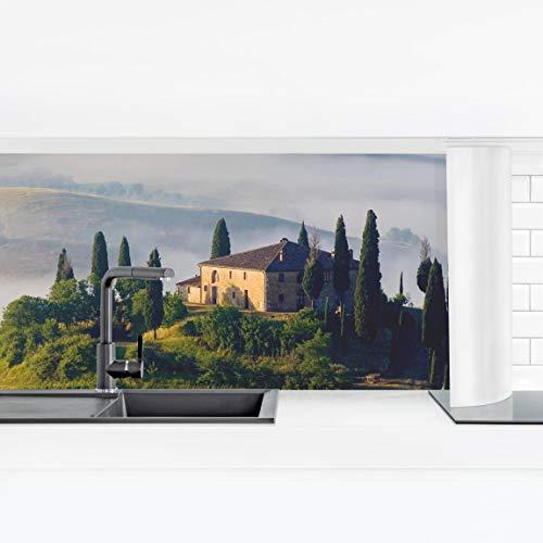 Bilderwelten Küchenrückwand Panorama Folie - Landgut in der Toskana Premium 70 x 245 cm
