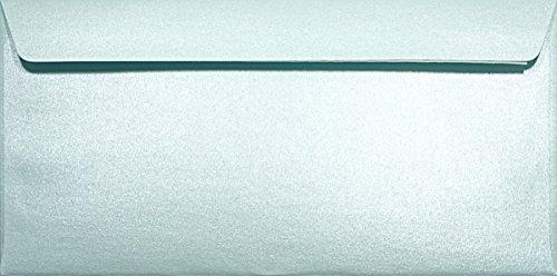 100 Perlmutt- Hell-Blau DIN Lang Briefumschläge 120g, 110x220mm, Majestic Damask Blue, gerade Klappe, ideal für Hochzeit, Geburtstag, Taufe,Weihnachten, Einladungen, Gelegenheitskarten, Briefkarten