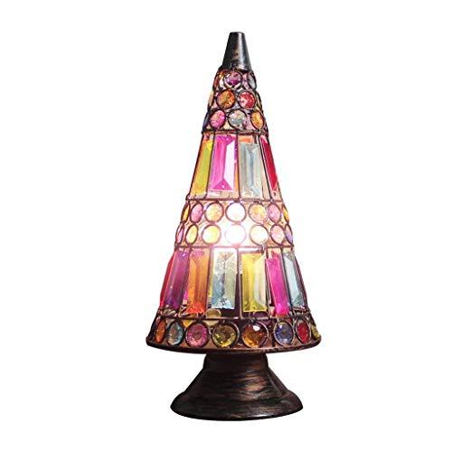 Lampes de table en fer rétro, Village Vintage LED acrylique éclairage Night Light postmoderne salon étude chambre décoration lumières bar café lampe de bureau (Design : A-Button switch)