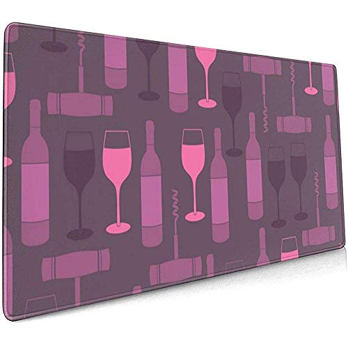 Wijn en Wijn Glas Roze Grote Gaming Muis Pad,Extended Mat Bureau Pad,Mousepad,Non-lip Dikke Rubber Base Mouse Mat