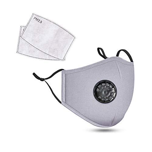 Unisex Anti Smoke Dust Luftreinigende Gesichtsmaske Kohlefilter Multi Layer mit Atemventil, Soft Half Face Mask, Mode Wiederverwendbare waschbare Outdoor Maske, Outdoor-Aktivitäten mit 2 Filter