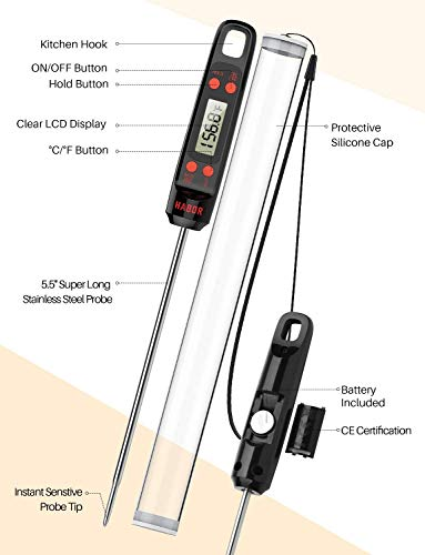 Meat Thermometer, Habor Digital Cooking Thermometer, Instant Read Kitchen Thermometer, 5.5'' Long Probe, Hanging Hole, ºF/ºC, Auto-off for Food, BBQ, Water, Sugar, Milk, Yogurt, Turkey, Grill, Wine