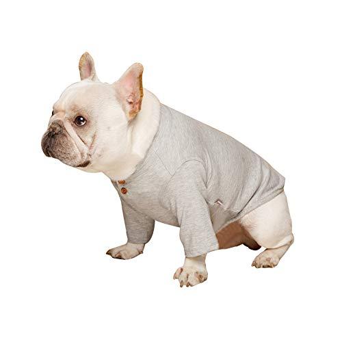 Etophigh Puppy T-shirt met lange mouwen sweatershirt warme hond winter zachte kleding huisdier hondenmantel outfit outfit outdoor kleding, Small, grijs