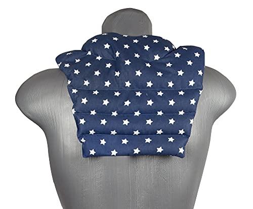 Cuscino cervicale con schienale – stelle blu – Cuscino in velluto di lino – Cuscino termico per la schiena