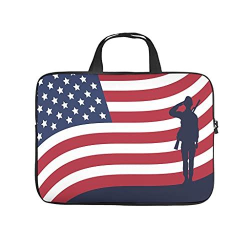 Soldat saluda Silhouette con la bandera de Estados Unidos, bolsa para ordenador portátil, resistente al desgaste, funda para portátil, funda de ordenador para universidad, trabajo y negocios