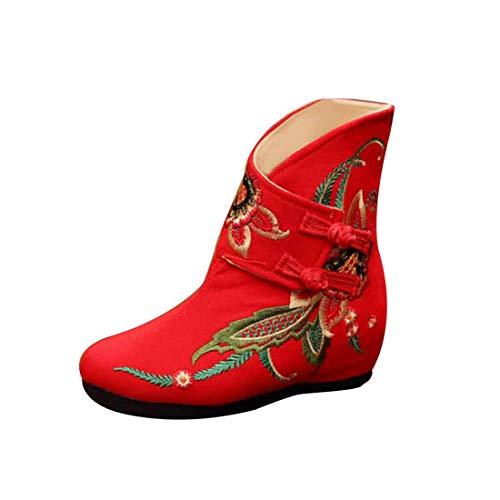 Aiweijia Frauen bestickte Stiefel erhöht Keilschuhe Komfort gepolsterte Schuhe
