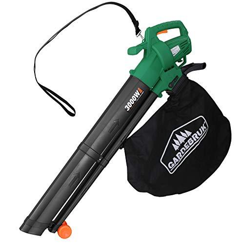 Monzana 3en1 soplador Aspirador y trituradora de jardín máx 3000W para Hojas Papeles Ramas con Bolsa de Recogida 45L