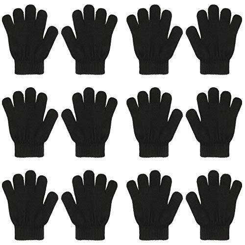 QKURT 6 Paare Magic Stretch Handschuhe, Vollfinger Winter gestrickte Magic Stretch Handschuhe Warme Handschuhe für 5~13 Jahre alte Kinder Mädchen Jungen