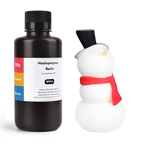 ELEGOO LCD UV 405nm Resina Rapida per Stampante 3D LCD 500g Resina Fotopolimerica Bianco (ABS-Like)