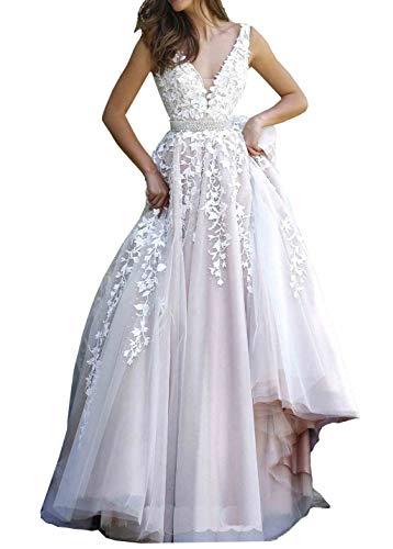 Nanger Damen A Linie Prinzessin Tüll Hochzeitskleider mit Appliques Brautkleider Ballkleider Elfenbein Nackt 44