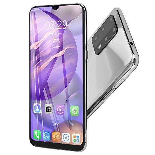 Smartphone, P60 Pro 6.3In Pantalla de Gota de Agua Dual SIM 3G Ultradelgado Smartphone 1 + 16GB Smartphone, Cámaras HD Colores Vivos Mutifunción MTK6580P Potente procesador de teléfono Celular(Plata)