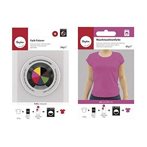 Fixeerapparaat + textielverf voor wasmachine – roze oogje