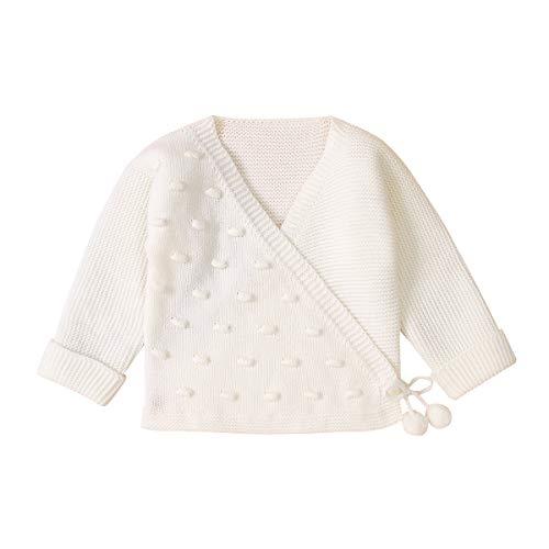 Tianhaik Strickjacke für Neugeborene, langärmelig, einfarbig, Strickpullover, weich, warm, für 0-18 Monate, weiß, 0-3 Monate