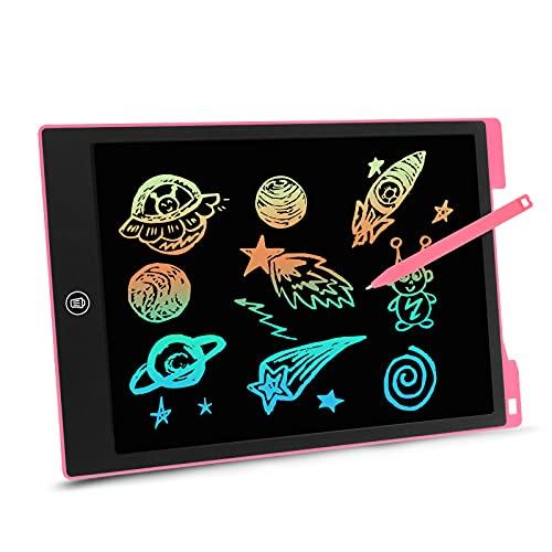 EooCoo LCD Schreibtafel mit Bunt Bildschirm 12 Zoll, Löschbare Elektronische Memoboard für Zeichnung, Berechnung, Spielzeug für 4-12 Jahre Mädchen/Jungen, Rosa