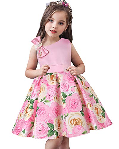 AGQT Sweet Flower Girls Dress Rose Print Off Shoulder A Line Floral Ball Gown Birthday Party Tea Dress(160) 10-11 Years Pink