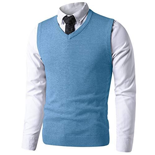 LTIFONE Mens Slim Fit V Neck Sweater Vest Basic Plain Short Sleeve Sweater Pullover Sleeveless Sweaters with Ribbing Edge(Light Blue,M)