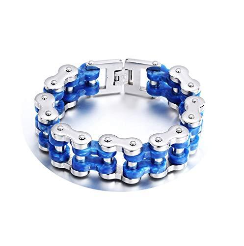 KnBoB Titanstahl Herren Herren Blau Bikerkette Armband