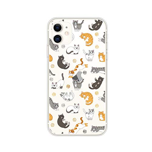 iPhone 11 (6.1 inch) Case,Blingy's Cute Animal Style Transparent Clear Soft TPU Protective Case Compatible for iPhone 11 6.1' 2019 Release (Cats)